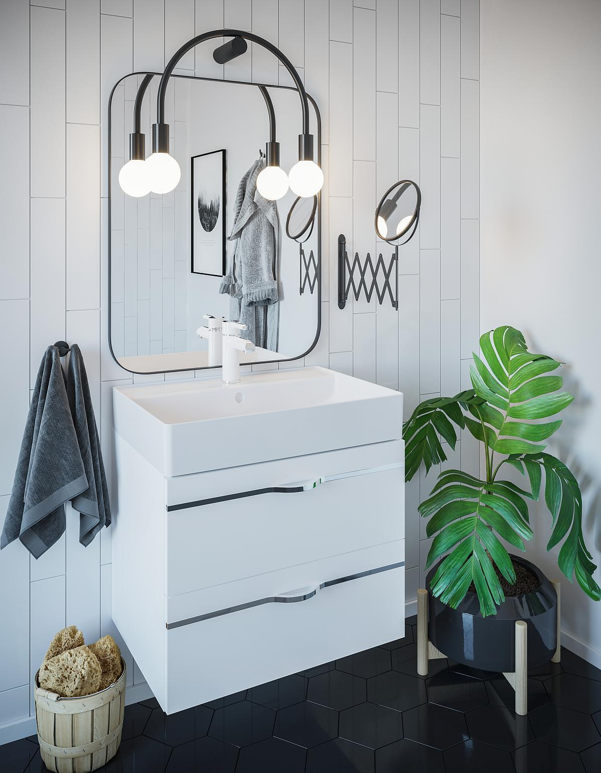 Ciemna podłoga w kuchni i łazience