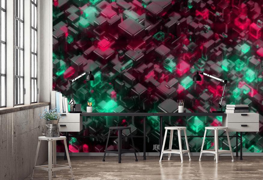 Tapeta 3D kostki do pokoju / Tapety 3D na wymiar Wrocław House