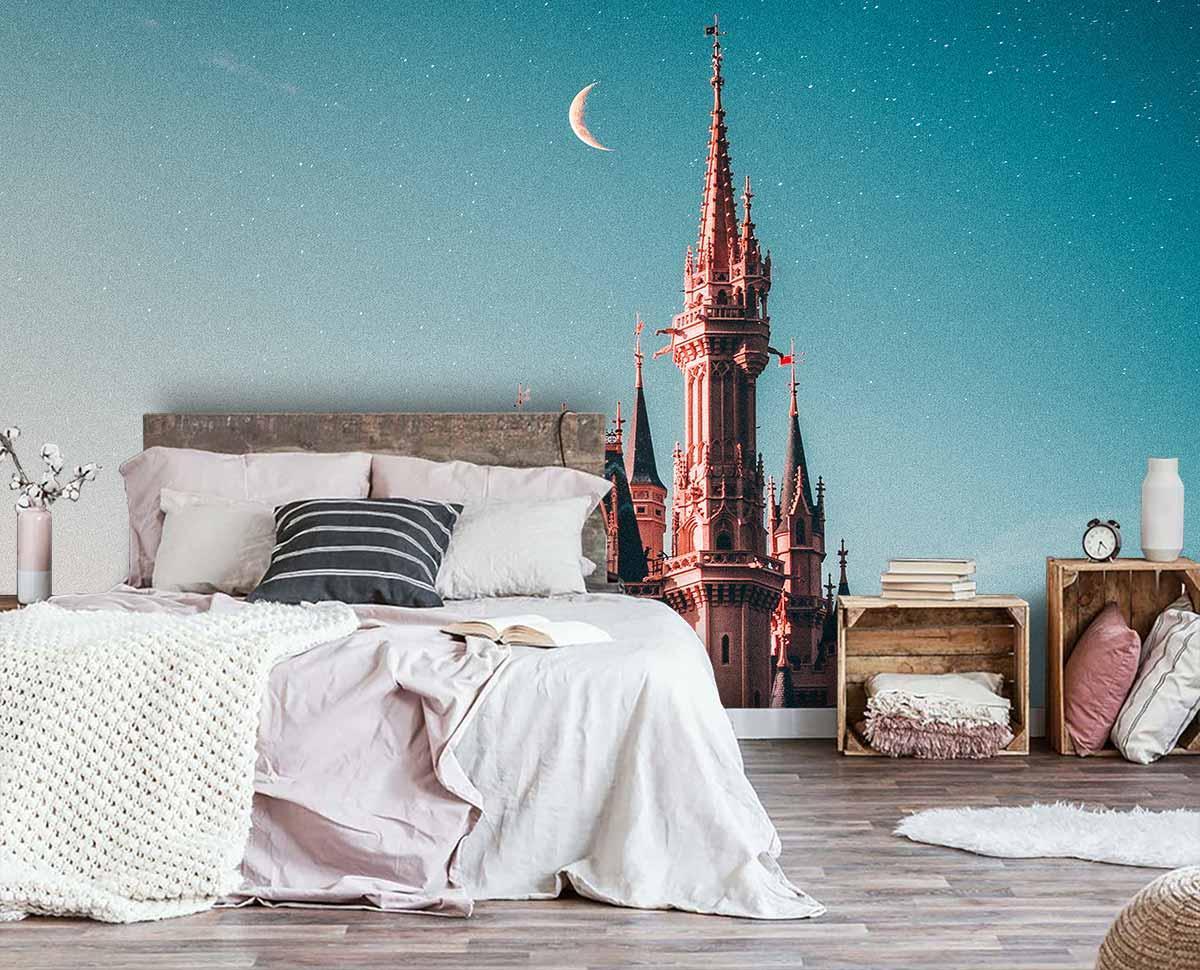 Fototapeta 3D do sypialni ze zdjęciem baśniowego zamku / fototapety przestrzenne