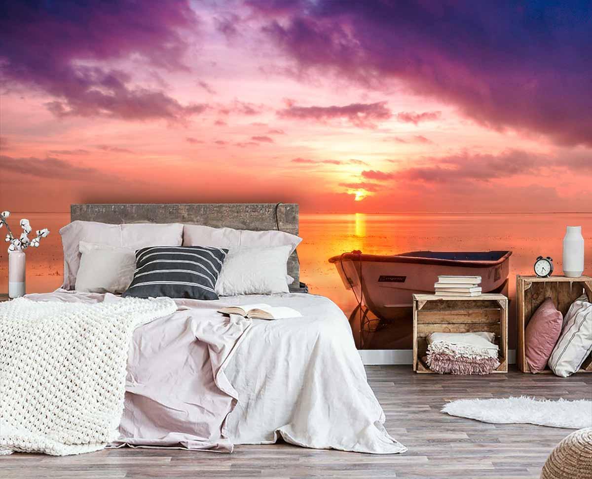 Fototapeta 3d do sypialni - foto tapety łódka i zachód słońca / fototapety sypialnia